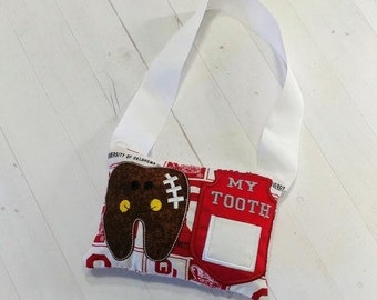 LIQUIDATION SALE College Football themed Tooth fairy pocket pillow with OU printed fabric