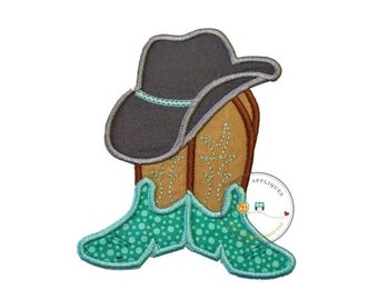 LIQUIDATION SALE Cowboy hat with brown and tan boots and teal ban- western fabric applique- farm boy- iron on patch-ready to ship pre-made