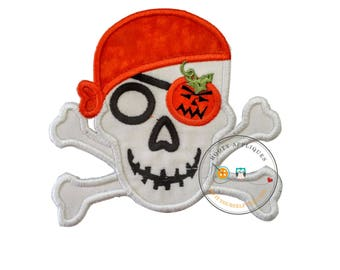 Halloween pirate skull and cross bones-orange pumpkin- Iron embroidered fabric applique patch embellishment-ready to ship