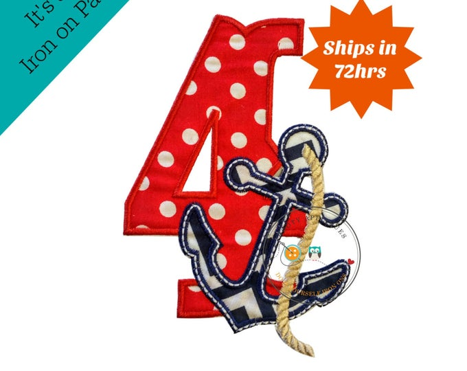 Nautical birthday number 4 with large navy anchor iron on applique, Fourth birthday nautical number with anchor embroidered iron on patch