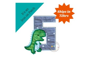 Dinosaur birthday number fifth machine embroidered patch, fast shipping iron on Dino birthday applique, green and gray number 5