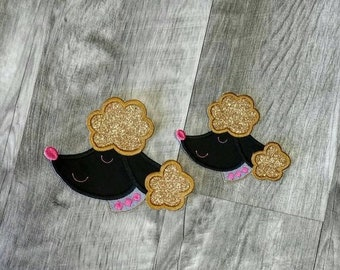 LIQUIDATION SALE Gold, black and pink poodle face iron t-shirt applique- ready to ship
