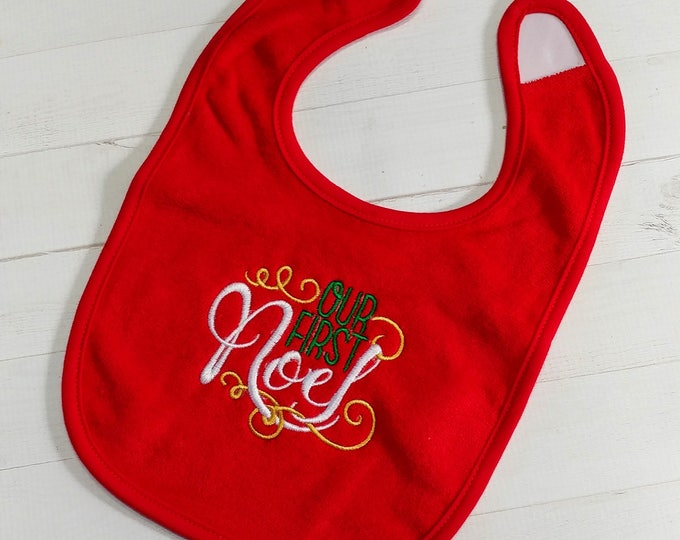 Our First Noel, Bright Red embroidered terry cloth baby bibs for boy and girls