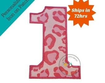 ON SALE Large pink cheetah print number 1- iron embroidered fabric applique patch embellishment- ready to ship