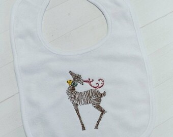 CLEARANCE Christmas reindeer- Christmas Holiday white embroidered terri cloth baby bibs for boy and girls