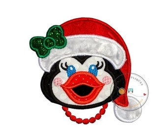 LIQUIDATION SALE Cheerful Christmas girl penguin iron on fabric applique, Machine embroidered Christmas holiday no sew patch, easy Christmas
