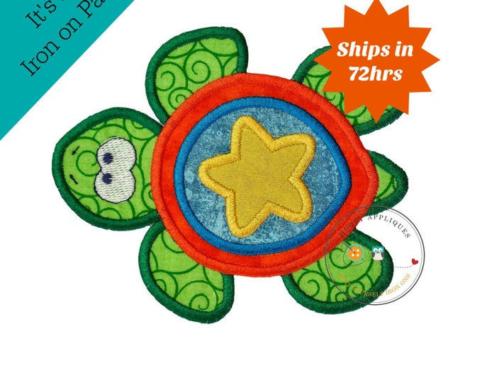 Large boy sea turtle - iron embroidered fabric applique patch embellishment- ready to ship