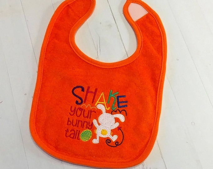 Shake your bunny tail Easter bright orange embroidered Koala Baby cloth baby bibs for 6-12 month old boys and girls
