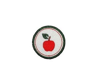 LIQUIDATION SALE Apple Merit badge- 2 inch iron on patch- ***Ships in 72 Hours***