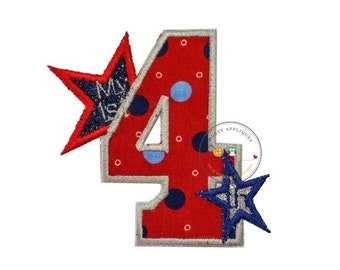 On Sale NOW Fourth of July iron on embroidered fabric applique- My 1st 4th-Ready to ship