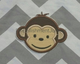 ON SALE Boy mod monkey face. Iron embroidered fabric applique patch embellishment-ready to ship