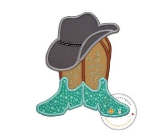 ON SALE Cowboy hat with brown and tan boots- western fabric applique- farm boy- iron on patch-ready to ship pre-made