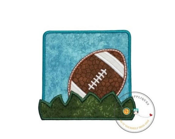 LIQUIDATION SALE Football in the grass blue square iron on applique for boys and girls, Football embroidered fabric no sew patch, Ready to s