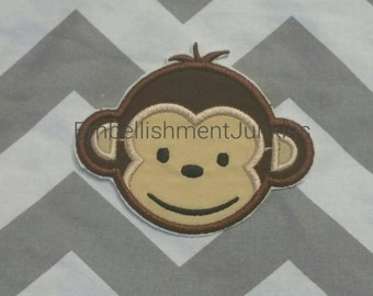 Boy mod monkey face. Iron embroidered fabric applique patch embellishment-ready to ship