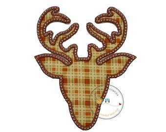 LIQUIDATION SALE Plaid deer head with brown trim- iron embroidered fabric applique patch embellishment- ready to ship