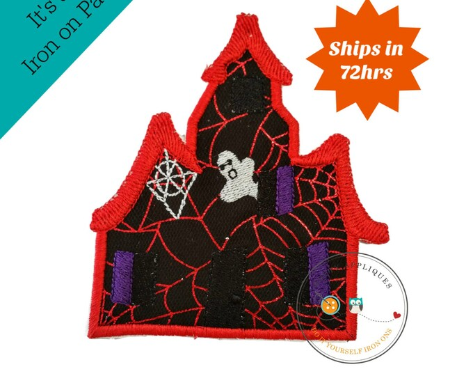 Large spooky house with red webs  - iron embroidered fabric applique patch embellishment- ready to ship
