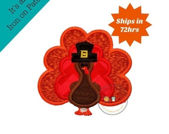 LIQUIDATION SALE Small fall boy turkey with hat- iron embroidered fabric applique patch embellishment- ready to ship