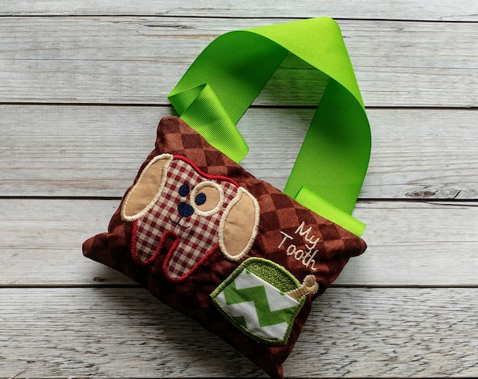 Puppy tooth fairy pocket pillow- Personalize with a name- ***Fast Shipping***