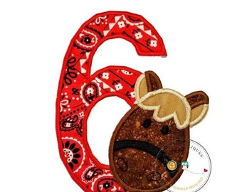 ON SALE Horse number 6 birthday iron-on applique with red bandana print and a horse's head in brown speckled fabric, embroidered reign, trim