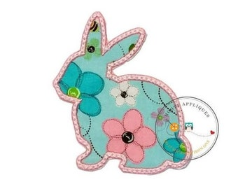 LIQUIDATION SALE Spring color bunny sillouette iron on applique, pink and teal Easter bunny fabric iron on fish patch, ships in 72hrs, ready