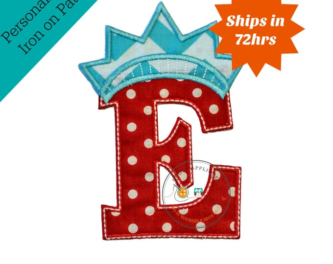 Red white and teal independance letter E iron on applique, July 4th fabric iron on initial E with liberty crown, patriotic monogram letter E