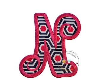 LIQUIDATION SALE Chunky curls letter N iron on applique, Girls nautical monogram, iron on initial N, Blue and pink monogram letter N, Ready