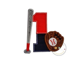 ON SALE Two tone baseball theme birthday number 1 iron on applique, Embroidered fabric iron on baseball birthday patch, sport birthday numbe