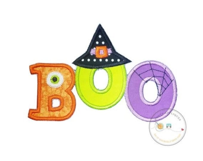 LIQUIDATION SALE Boo halloween text emoridered fabric iron on applique, Cute monster and witch letter no sew iron on Halloween patch, ready