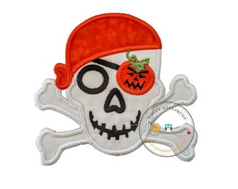 On Sale NOW Halloween pirate skull and cross bones-orange pumpkin- Iron embroidered fabric applique patch embellishment-ready to ship