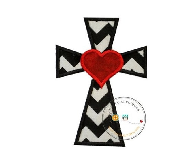 LIQUIDATION SALE Cross with heart in black and white pen dot fabric - iron embroidered fabric applique patch embellishment- ready to ship