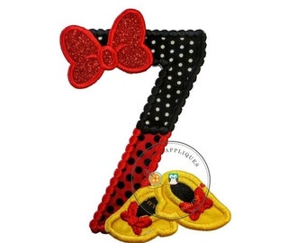 LIQUIDATION SALE Red and black birthday number 7 with glitter bow iron on embroidered applique, 7th birthday patch for girl, Minnie inspired