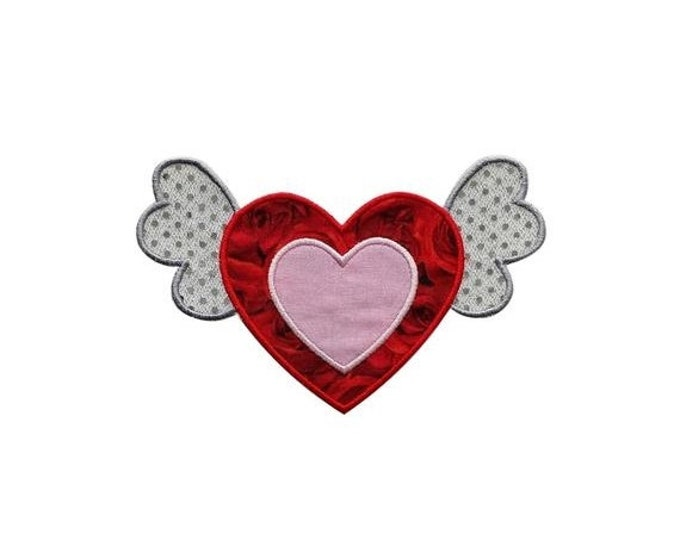LIQUIDATION SALE Iron on Heart with Wings Patch- Valentine's day applique- Personalize- ***Ships in 72hrs***