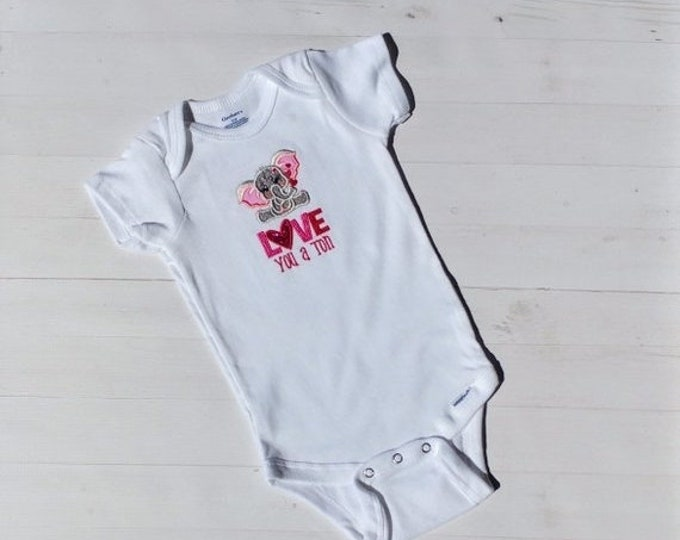 LIQUIDATION SALE Love you a ton embroidered t shirt - Valentine's day tee for girls- tops for toddlers
