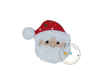Jolly Saint Nick face machine embroidered fabric iron on no sew patch, ready to ship holiday patch for kids clothing