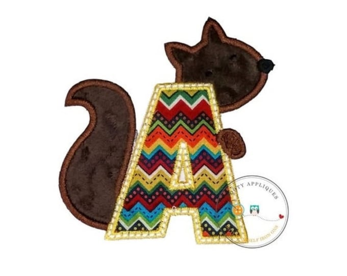 LIQUIDATION SALE Woodland squirrel alphabet letter, Embroidered fabric letter A-Z iron on patch, earth tone monogram A with plush mink brown