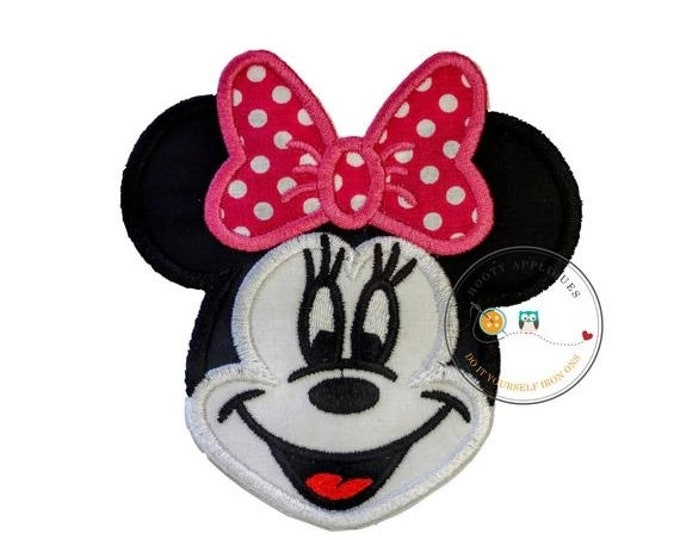 LIQUIDATION SALE Large girl mouse head black and white with pink bow- iron embroidered fabric applique patch embellishment- ready to ship