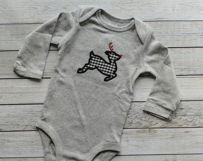 LIQUIDATION SALE Buffalo plaid Reindeer baby long sleeve onesie- Ready to ship