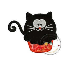 On Sale NOW Black cat cupcake - large- iron embroidered fabric applique patch embellishment- ready to ship