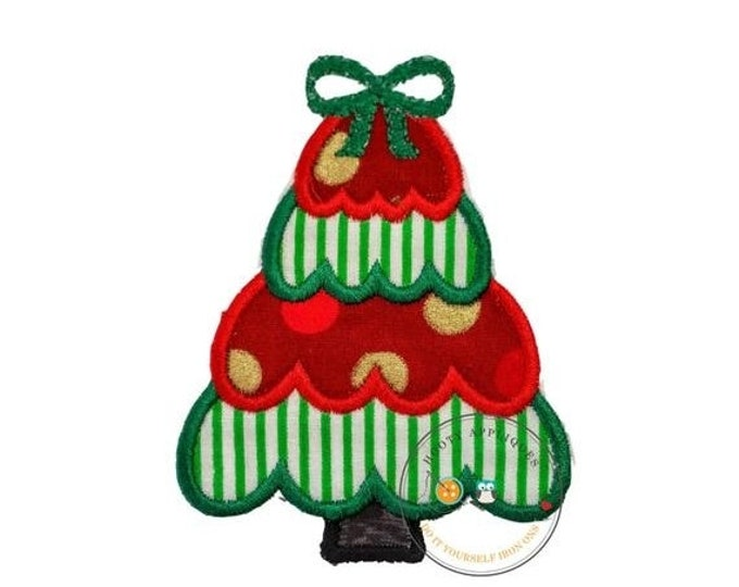 LIQUIDATION SALE Small Christmas tree green and white stripes- iron on embroidered fabric applique patch