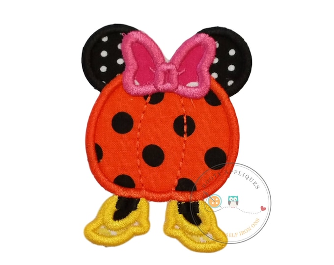 Girl pumpkin with mouse ears Halloween fabric iron on applique, Halloween machine embroidered no-sew patch for girls, DIY Boutique fashions