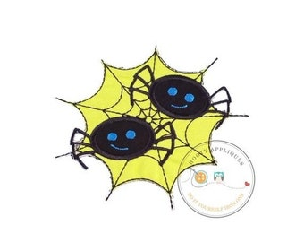 LIQUIDATION SALE Two black spiders in green web Halloween iron on applique for kids, Spider embroidered fabric applique for holiday, creepy