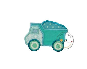 LIQUIDATION SALE Small baby blue dump truck. Iron embroidered fabric applique patch embellishment-ready to ship