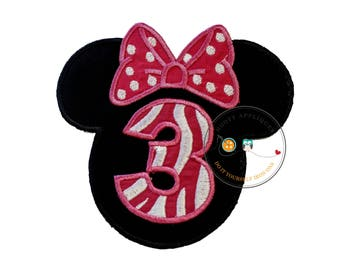 Girl mouse sillouette with pink and white bow, Birthday number 3, zebra birthday number iron on, third birthday party for girls, Pink mouse