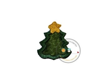 On Sale NOW tiny Christmas tree, mini tree, small, holiday, iron on applique, socks, fabric patch, heat press, ready to ship, embellishmentj