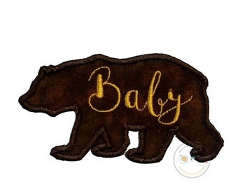 On Sale NOW Baby bear silhouette iron on applique-large brown bear with gold script Baby machine embroidered fabric patch-DIY boutique fashi