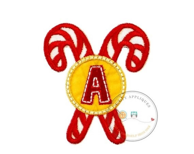 LIQUIDATION SALE Christmas candie cane initial letter A - iron embroidered fabric applique patch embellishment- ready to ship