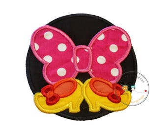 pink bow and shoes circle iron on applique inspired iron on applique, iron on fabric patch with bow and shoes