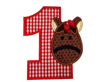 """Girl Horse numbers 1-4  iron on patch- 5.25"""" Red Gingham Number- Personalizeable ***Ships in 72 Hrs***"""