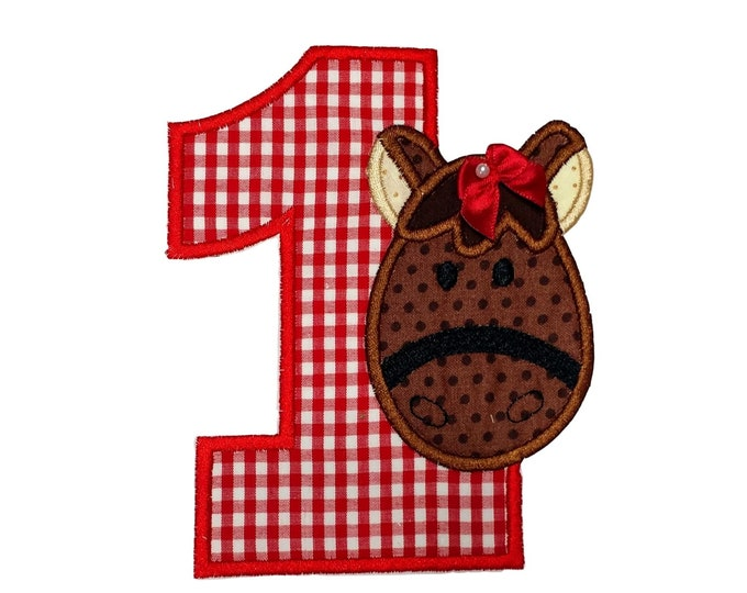 "Girl Horse numbers 1-4  iron on patch- 5.25"" Red Gingham Number- Personalizeable ***Ships in 72 Hrs***"