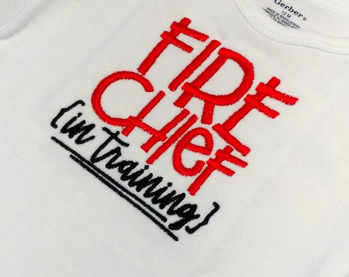 Fire Chief in training embroidered t shirt-  Career day tops for infants and toddlers
